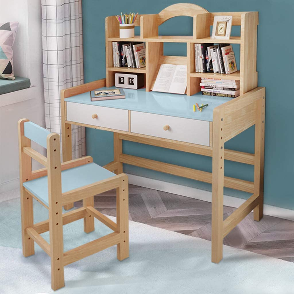 Shipping from USA, Blue Adjustable Wooden Table with Drawers Hutch Bookshelves Kid Desk and Chair Set Kids Bedroom Furniture for Study Writing Playing Computer Workstation-Blue