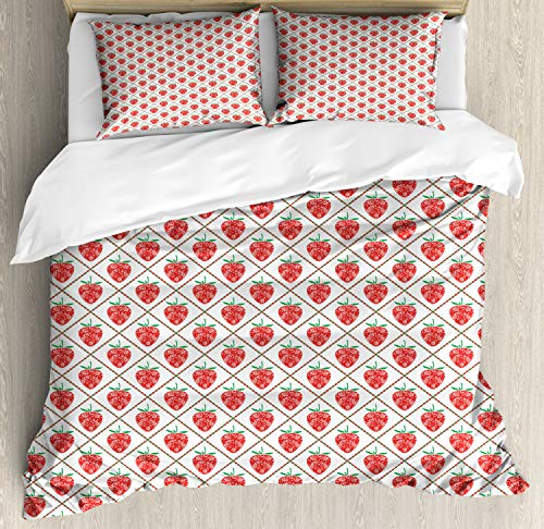 Ambesonne Fruit Art Duvet Cover Set Queen Size, Ethnic Floral Ornamental Strawberries in Tiny Dotted Rhombus Symmetric, Decorative 3 Piece Bedding Set with 2 Pillow Shams, Vermilion White Green
