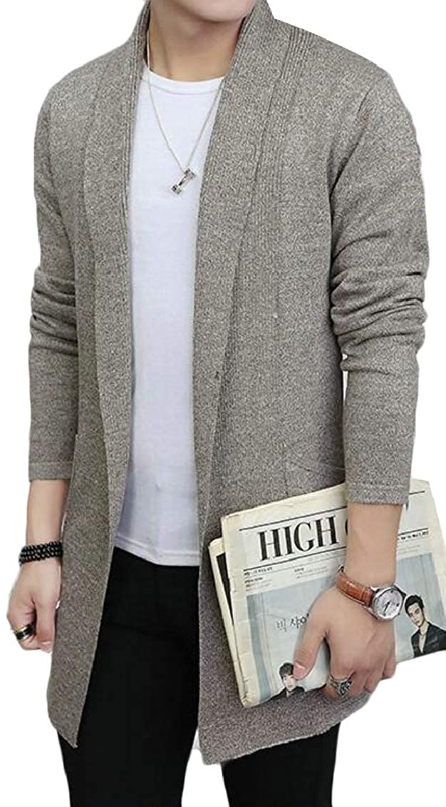 Jaycargogo Mens Casual Knitted Shawl Collar Open Front Cardigan Sweaters