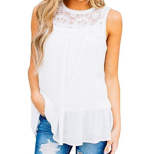 23cbe2406d3 Amazon.com  Loose Fit Lace Tank Top for Women Juniors