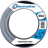 Electraline 14002 Cavo Telefonico/Citofonico, 1 Coppia e Messa a Terra, Lunghezza 50 m, Grigio