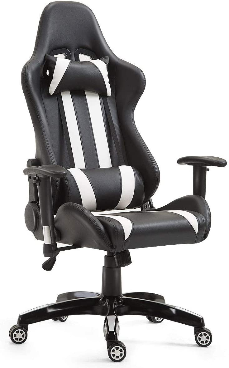 Giantex Gaming Chair Ergonomic Racing Style Chair High Back Executive Office Chair PU Leather Height Adjustable Computer Swivel Desk Chair with Headrest, Lumbar Support and Reclining Back White