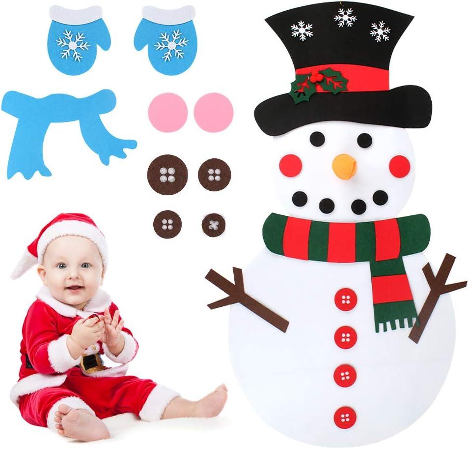 Heqishun Craft DIY Fieltro muñeco de Nieve Navidad Hecho a Mano muñeco de Nieve Adornos Adornos para Colgar en la Pared Decoraciones