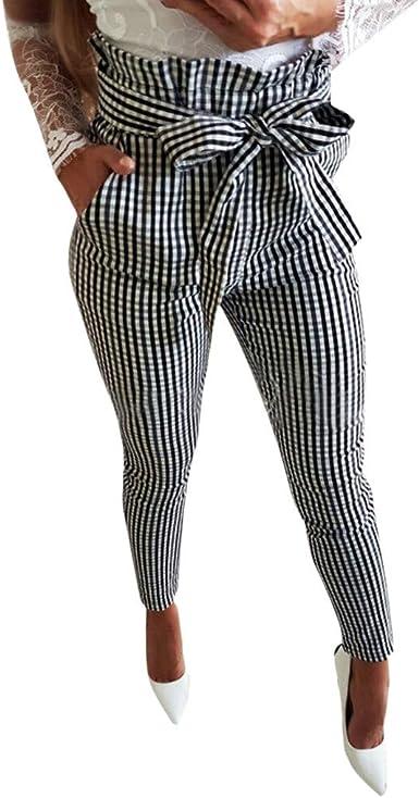 Pantalones Largos Para Mujer Verano Cintura Alta Paolian 2019 Pantalones Vestir Harem Pinzas 3 4 Elegantes Fiesta Rayas Cuadros Baratos Amazon Es Ropa Y Accesorios