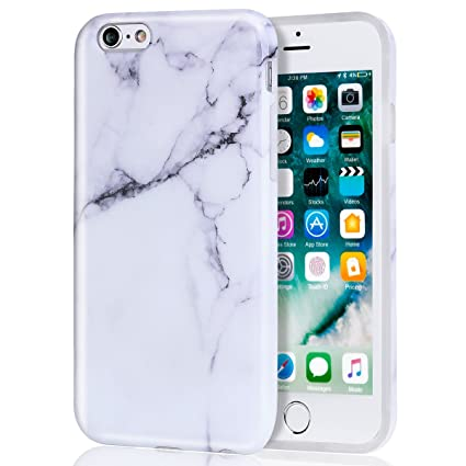 Amazon.com: Carcasa para iPhone 6 Plus, mármol blanco para ...