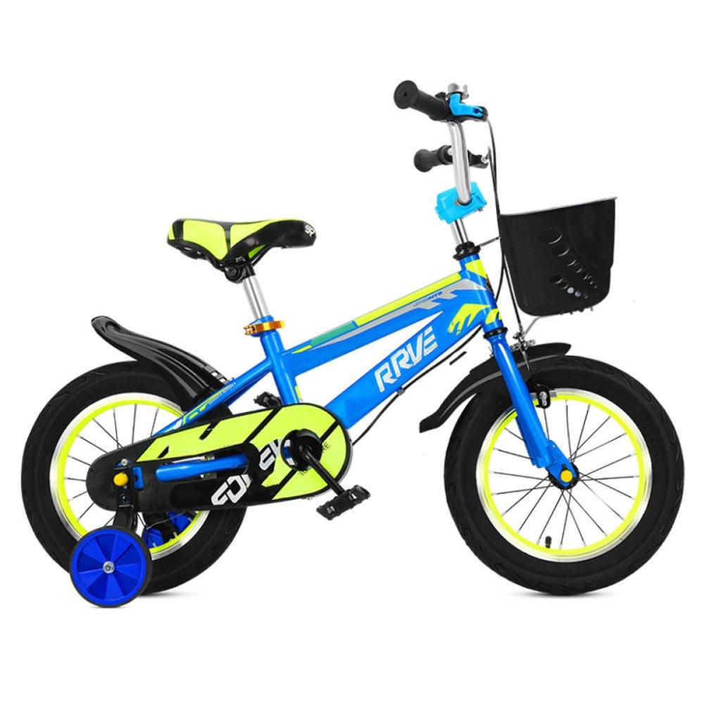QXmEi子供の自転車高炭素スチールフレーム2 – 3 - 4 , – , 7 , – 8 Years Old Boy and Girl 12 /14 /16 /18インチ自転車補助ホイール付き 14Inches ブルー B07DVFDG8H