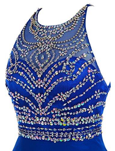 Königsblau Lange Luxus Damen Ballkleid Chiffon Formale Öffnen Zurück Kleider Kristall Izanoy axRBvUqx