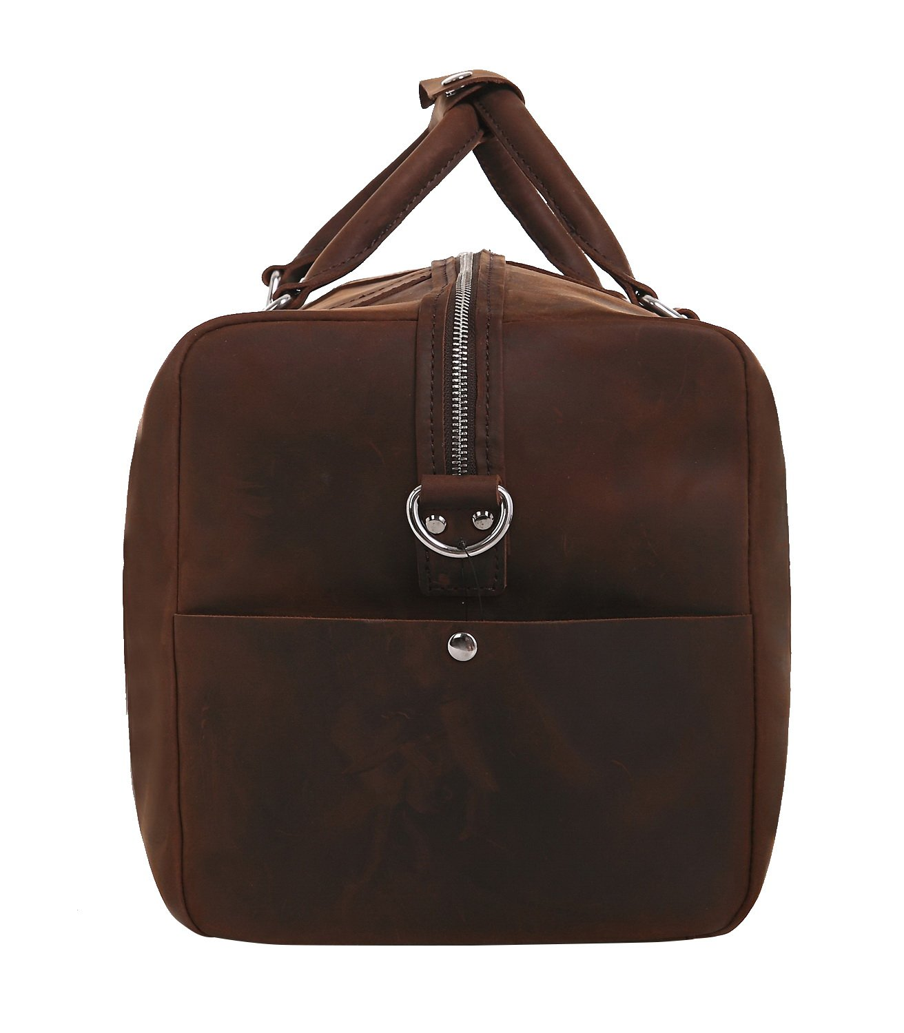 Vintage Full Grain Leather Cowhide Leather Overnight Travel Carry On Tote LD03.VD