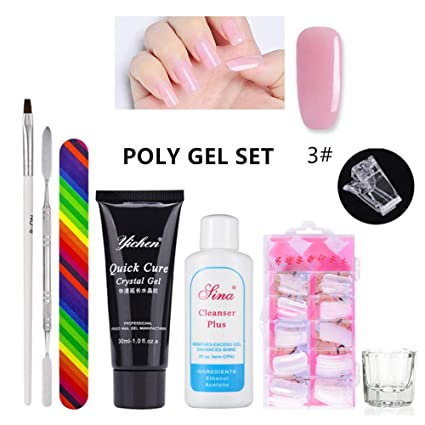 AOLVO Kits Poly Uñas Gel,Poly UV Gel Kit Poly Builder Gel Quick Building Extension Set ...