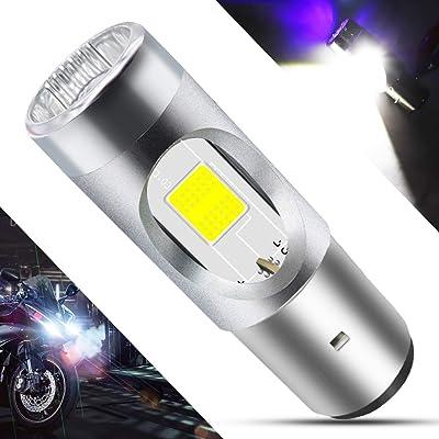 BA20D LED Motorcycle Headlight Bulb 1 COB+3528 LEDs 7.8Watts High Low Beam H6 LED Motorbike Headlamp Super Bright 1200Lumens Double Colors Blue & Xenon White.(1-Pack).: Automotive