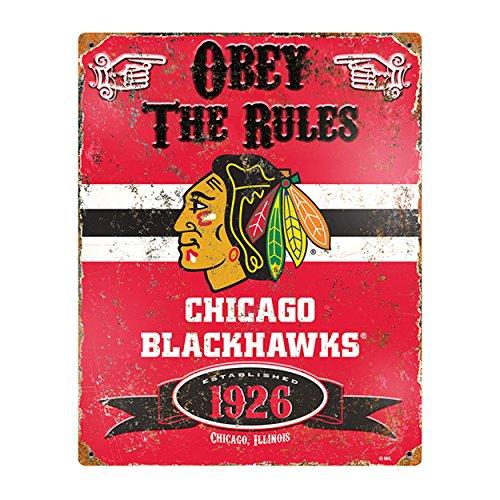 Party Animal NHL Embossed Metal Vintage Chicago Blackhawks Sign