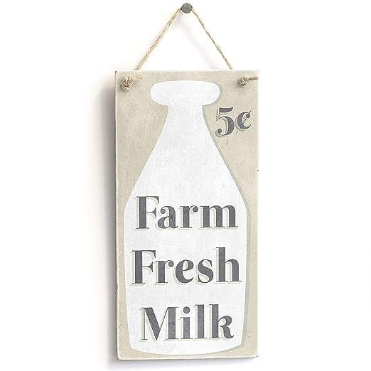 jkcm99 Farm Fresh Milk - Cartel de Madera Hecho a Mano para ...