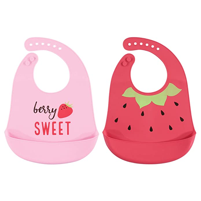 Hudson Baby Waterproof, Easy Wipe, Comfortable Silicone Bib with Pocket, 2 Pack, Strawberry
