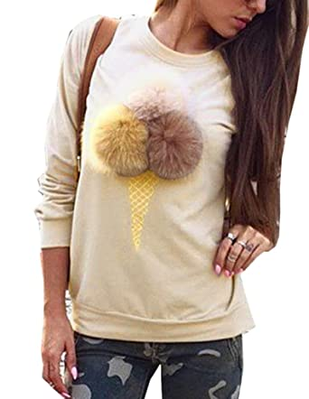 1109d16e678a2 Bigood Pull-Over Femme Pull Imprimé Sweater Manche Longue Sweat-Shirt Col  Rond Mignon
