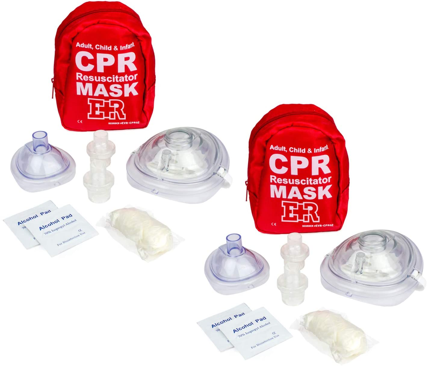 Ever Ready First Aid Adult and Infant CPR Mask Combo Kit with 2 Valves with Pair of Nitrile Gloves & 2 Alcohol Prep Pads - Red - 2 Pack