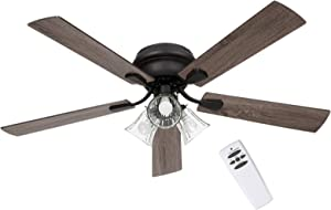SOLTRONICS Ceiling Fan 52 inch with Light and Remote Low Profile Ceiling Fan Light 3 LED Light Kit Dimmable Flush Mounted Reversible Blade Indoor Use, Matte Black