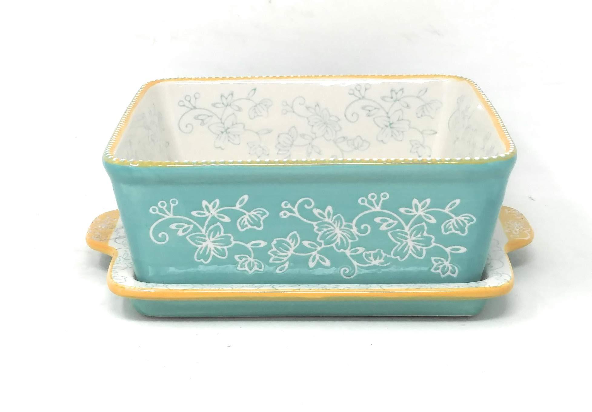 Temp-tations 8x8 Brownie Baker w/Lid-It (Tray) 1.5 Qt Square Casserole Dish (Floral Lace Teal)