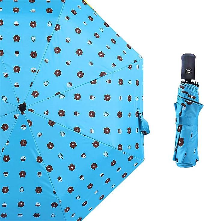 Comeyang Paraguas Compacto y a Prueba de Viento Que Abre y Cierra automáticamente el Paraguas Plegable,Oso de Vinilo sombrilla Plegable Paraguas color7 99cm: Amazon.es: Hogar