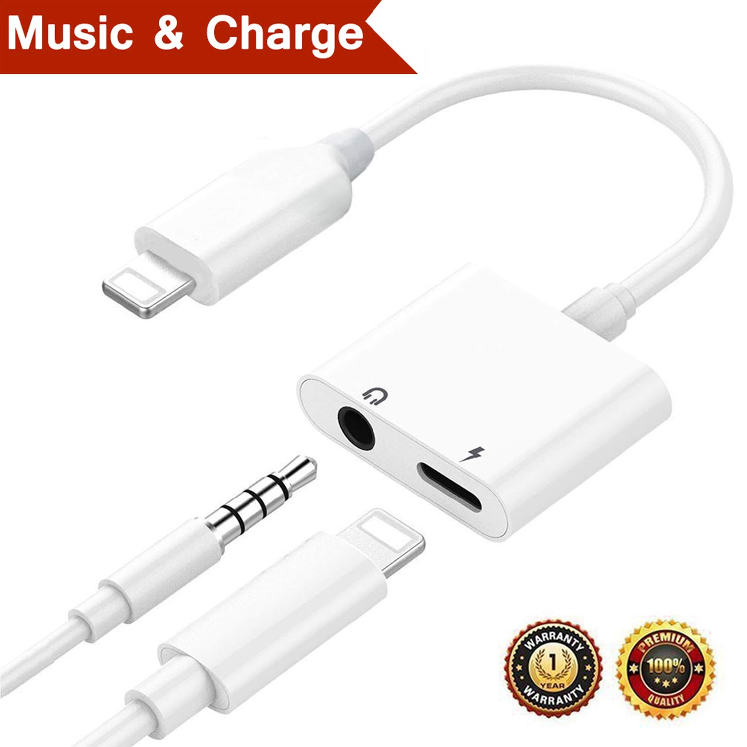 Pilloit Compatible Heahphone Lighting Jack Adapter Charger Cables Replacement iPhone iPhone 7/7Plus iPhone 8/8Plus iPhone X/10 Earphone Adaptor Audio Dongle Music 3.5mm Audio AUX Accessories-White