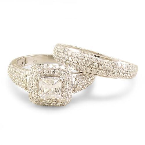 Lilu Jewels Princesa & Rd corte cúbico circonita para mujer boda ...