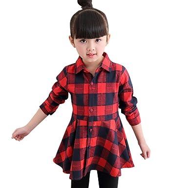 5d113ca1a Moresave Vestido largo de la camisa de vestir de las muchachas de la ...