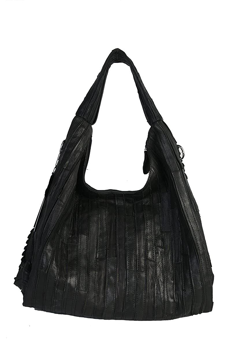 Mllecoco Leather Patch Ruffle Hobo Bag S-202