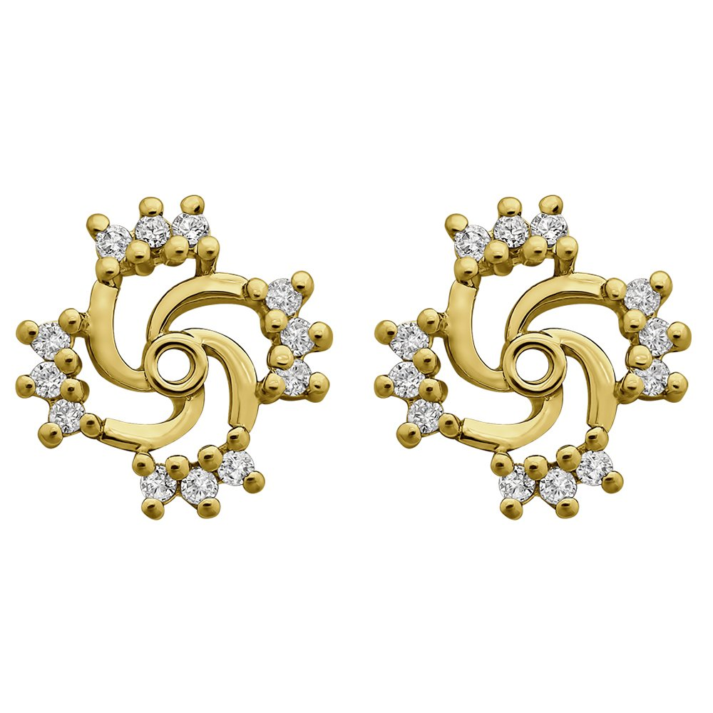 1/4 ct. Cubic Zirconia Swirl Earring Jacket in Yellow Plated Sterling Silver (0.24 ct. twt.)