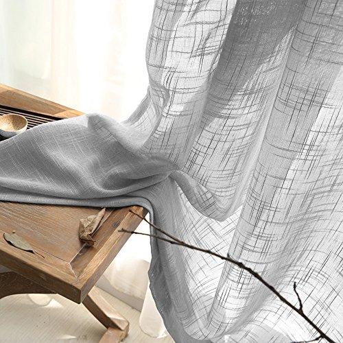 Linen Look Sheer Valance Bedroom 16 inch Length Valances Windows Rod Pocket Curtain Valance Grey Living Room, 1 Panel, Grey by jinchan (Image #5)'