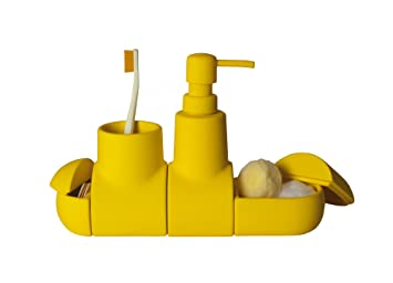 Submarino Porcelain Bathroom Accessory Set Color: Yellow