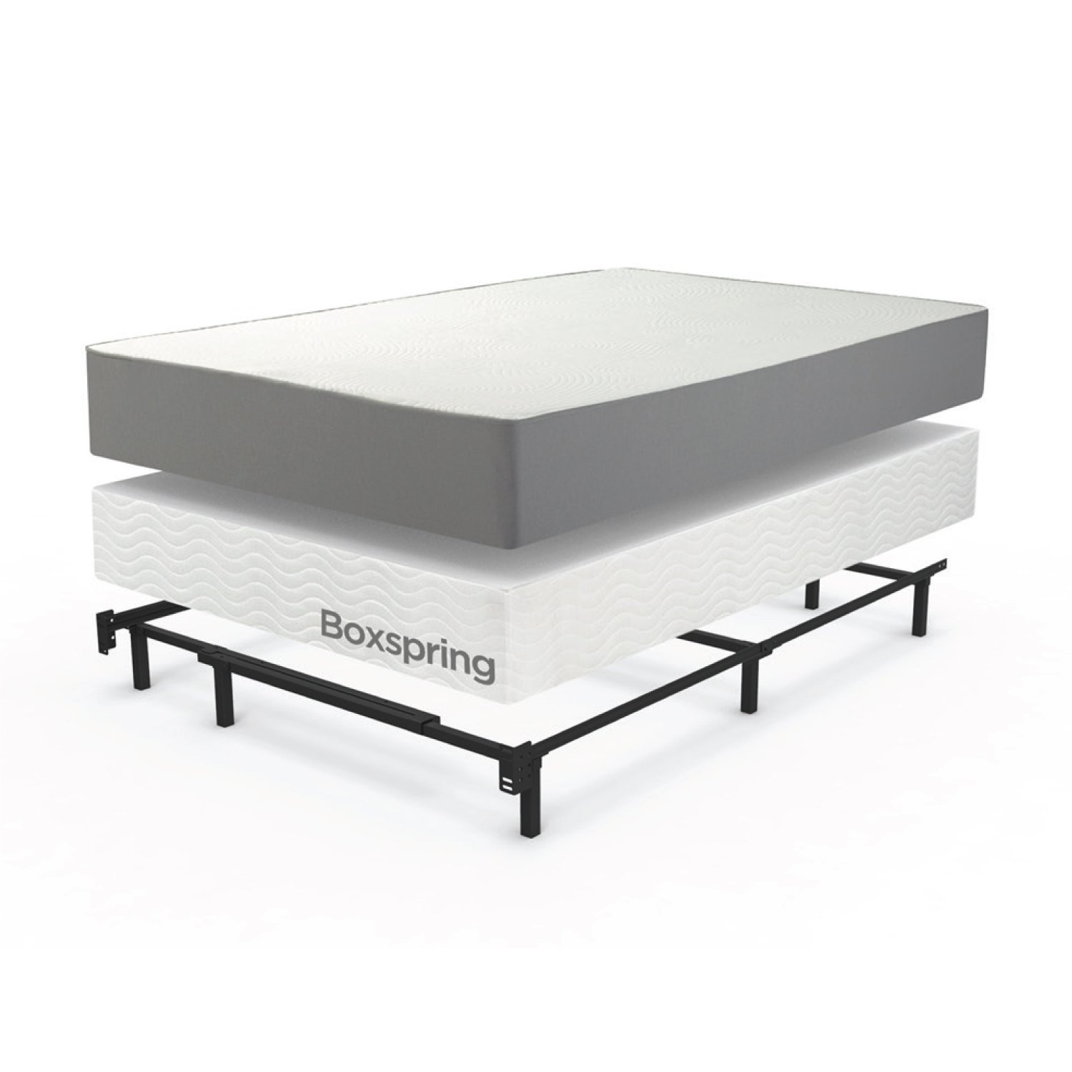 home adjustable steel bed frame for box spring mattress set full queen king size ebay. Black Bedroom Furniture Sets. Home Design Ideas
