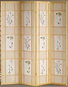 Legacy Decor 4 Panel Floral Accented Screen Room Divider, Natural Wood Frame, Printed Shoji Paper