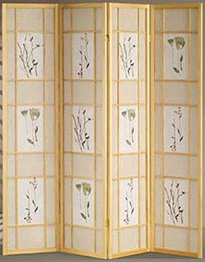 Legacy Decor 4 Panel Floral Accented Screen Room Divider