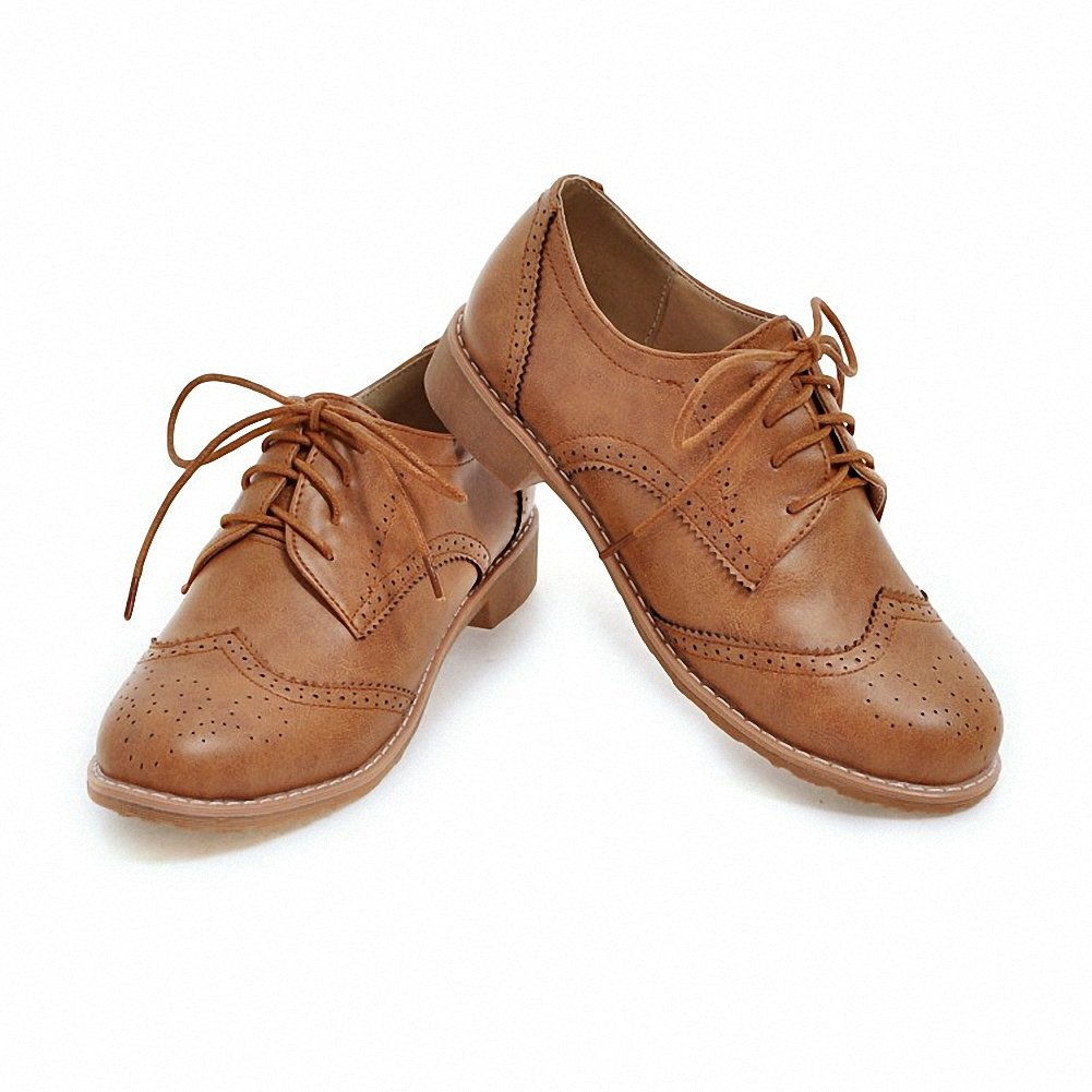 Cicime Women's Flat Lace-up Wingtip Oxfords Vintage Brown Oxford Shoes Brogues by Cicime (Image #7)