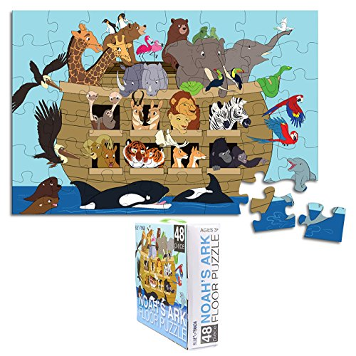 Floor Puzzle for Kids - Noah's Ark - Jumbo Jigsaw Puzzle, Educational Game for Family and Kindergarten, Age 3-5, 48-Piece, 1.9 x 2.9 Feet by Blue Panda