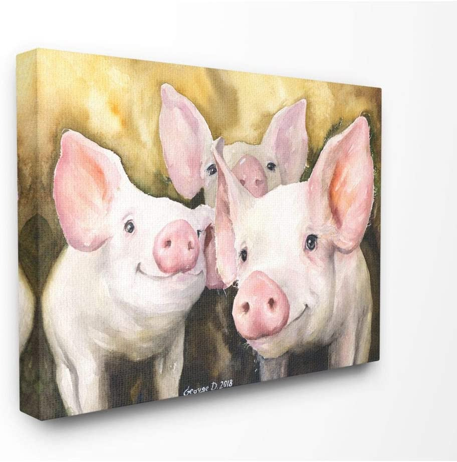Stupell Industries Baby Pigs Animal Yellow Watercolor Painting Canvas Wall Art, 16 x 20, Multi-Color