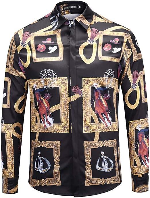 CHENS Camisa/Casual/Unisex/M Camisa de los Hombres de impresión Western Cowboy Montar Sombrero arnés Botas diseño de Marco de Imagen Vestido de la Moda de Moda Tops Casual: Amazon.es: Deportes y aire libre