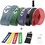 Pull Up Assist Band,Stretch Resistance Band,Mobility Band,Chin ups &Powerlifting Bands,Heavy Duty Resistance Band,5 Levels,SINGLE or SET,Guide Book Included,Come with Set of 4 Loop Bands for Free