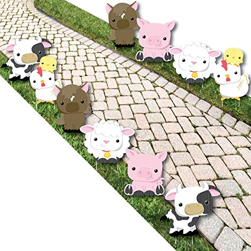 Farm Animals – Barnyard Animal Lawn Decorations – Outdoor Baby Shower or Birthday Party Yard Decorations – 10 Piece
