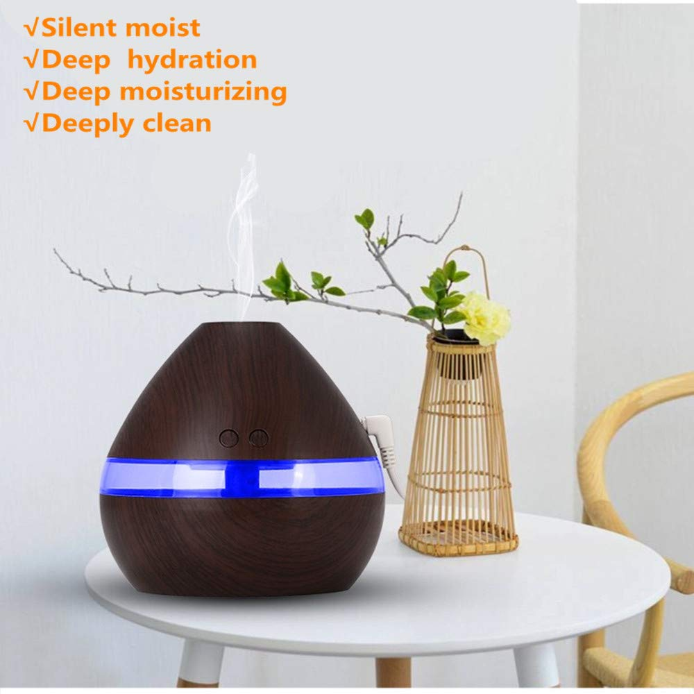 Essential Oil Diffuser, J\'sBeauty 300ml Wood Grain Aromatherapy Diffuser Cool Mist Humidifier with Auto Shut Off for Office Home Bedroom