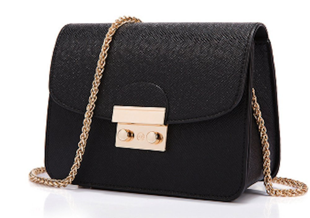 AIK Small Evening Bags for Women Crossbody Bag Chain Shoulder Clutch Purse Formal Bag (Black)
