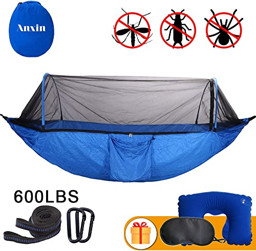 Anxin Camping Hammock with Mosquito Bug Netting,Packable Hammock with Tree Straps and Carabiners,Parachute Nylon Hanging Swing Hammock for Backpacking, Survival, Travel More Single Double