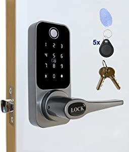 ETEKJOY 4-in-1 Electronic Door Lock Fingerprint Password RFID Card/Tag Mechanical Key Digital Touchscreen Keypad Left/Right Lever Reversible Handle Keyless Biometric Smart Auto Lock