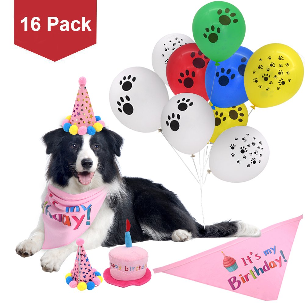 PUPTECK 16 Pack Dog Birthday Bandana Scarfs- 2 Cute Party Hats- Durable Plush Cake Squeaky Chew Toy- Decorations Kit- 12pcs Colorful Paw Print Balloons