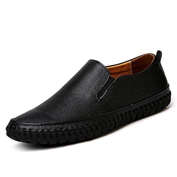 Hombres Zapatos de Cuero Genuino resbalón en Mocasines Negros Zapatos Zapatos de diseñador Italiano: Amazon.es: Zapatos y complementos
