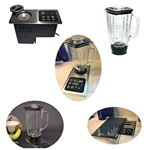Built-in Blender In-Counter Starter Set (2 blenders included); 1000W Motor Hidden Under Counter Top; Flush Mount Stainless Steel Control Panel: (re: Nutone Food Center 251) Smoothie & Slushy maker