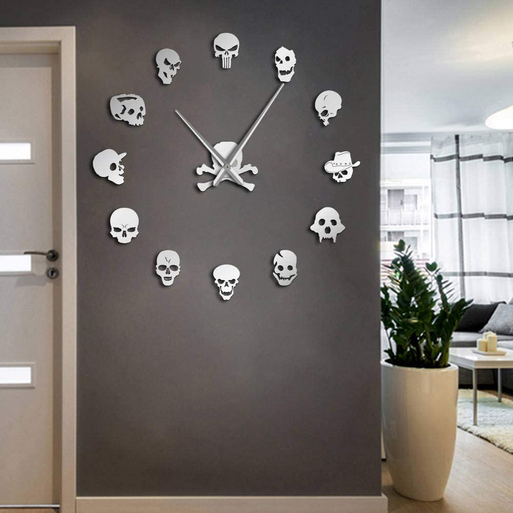 Amazon Com Skull Heads Giant Diy Large Wall Clock With Mirror Effect Wall Art Home Decor Frameless Big Time Clock Watch Silver Kitchen Dining