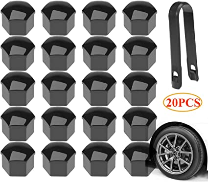 20pcs Car Truck Wheel Tyre Hub Screw Bolt Nut 19mm Plastic Cap Accessories Black