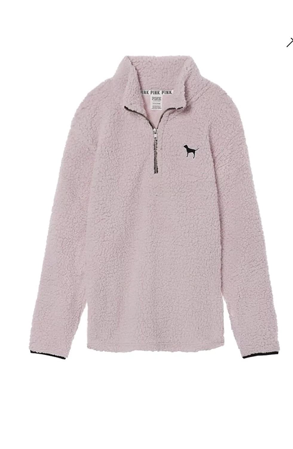 Victoria s Secret Pink Sherpa Boyfriend Quarter Zip Pullover Soft Pink- XS  at Amazon Women s Clothing store  17d53a678