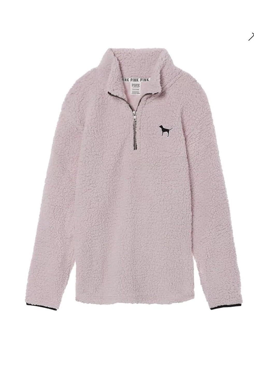 Victoria s Secret Pink Sherpa Boyfriend Quarter Zip Pullover Soft Pink- XS  at Amazon Women s Clothing store  8f38d0ed5