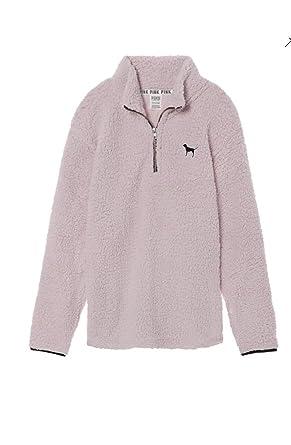 8b206afe728c8 Victoria's Secret Pink Sherpa Boyfriend Quarter Zip Pullover Soft ...